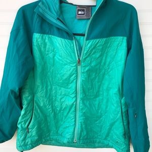 REI Sea Green Quilted Hooded Packable Coat